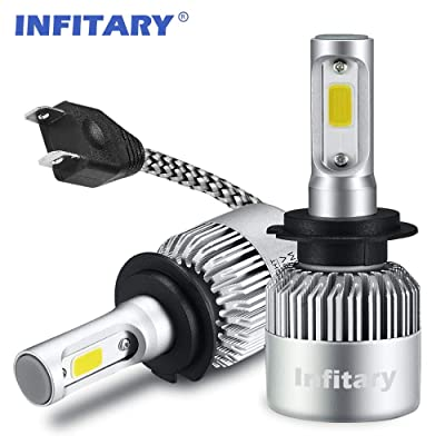 INFITARY H7 LED Headlight Bulbs Conversion Kits High Low Beam Auto Headlamp Car Headlight 72W 6500K Cool White 8000LM Extremely Super Bright COB Chips, 3 Years Warranty (Sliver, H7): Automotive