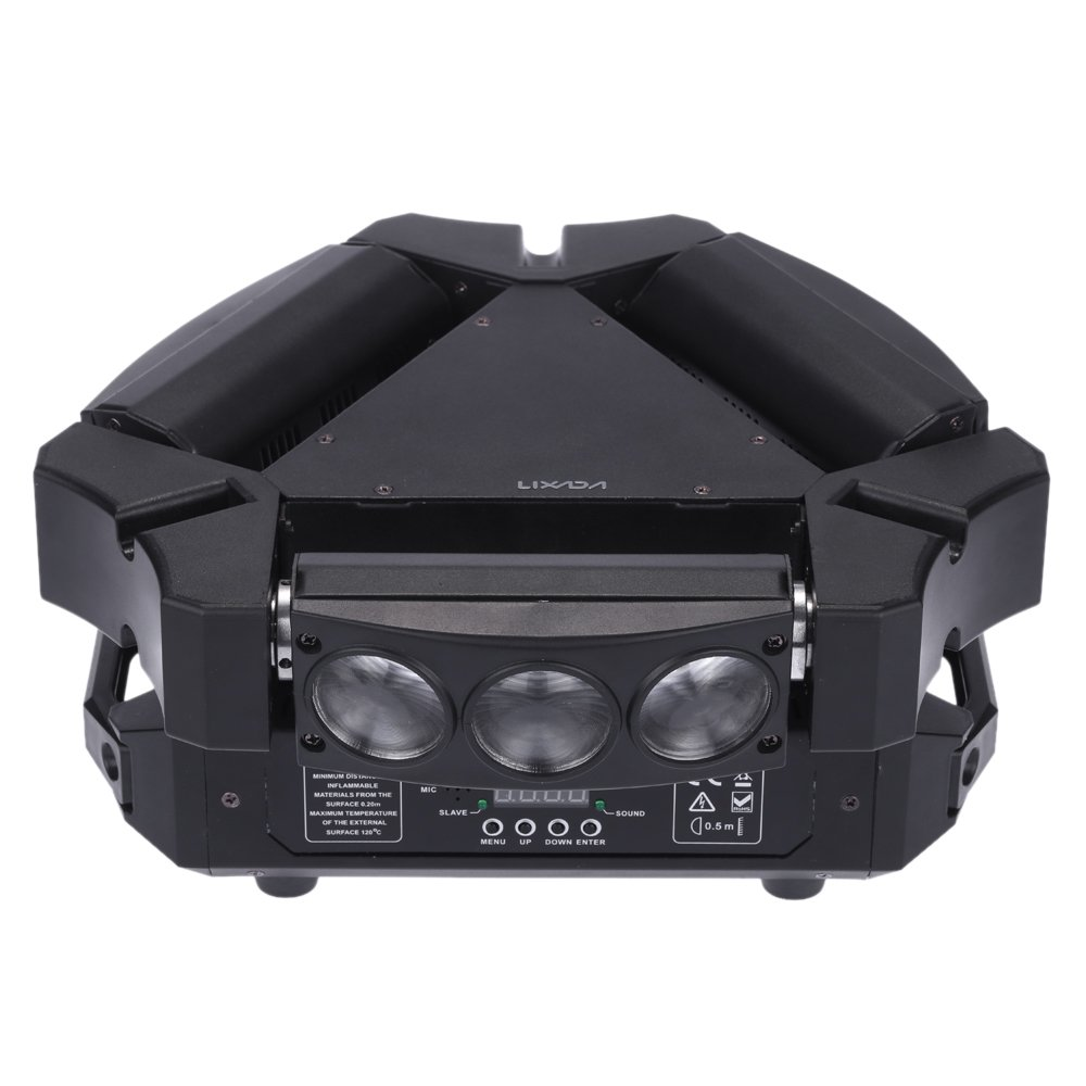Lixada 9x10W 9LED 16/48 Channel Full Color DMX512 Sound Control Auto Rotating Mini Triangle Spider Lamp Beam Stage Light for Disco KTV Club Party