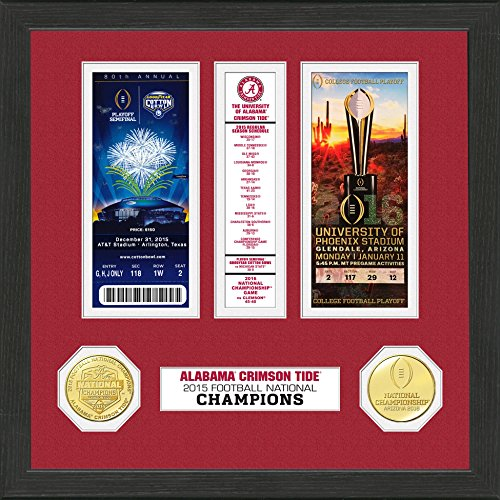 "The Highland Mint NCAA Alabama Crimson Tide Football National Champions Ticket Collection, 12"" x 15""/18"" x 14"" x 3"", Brown/Gold"