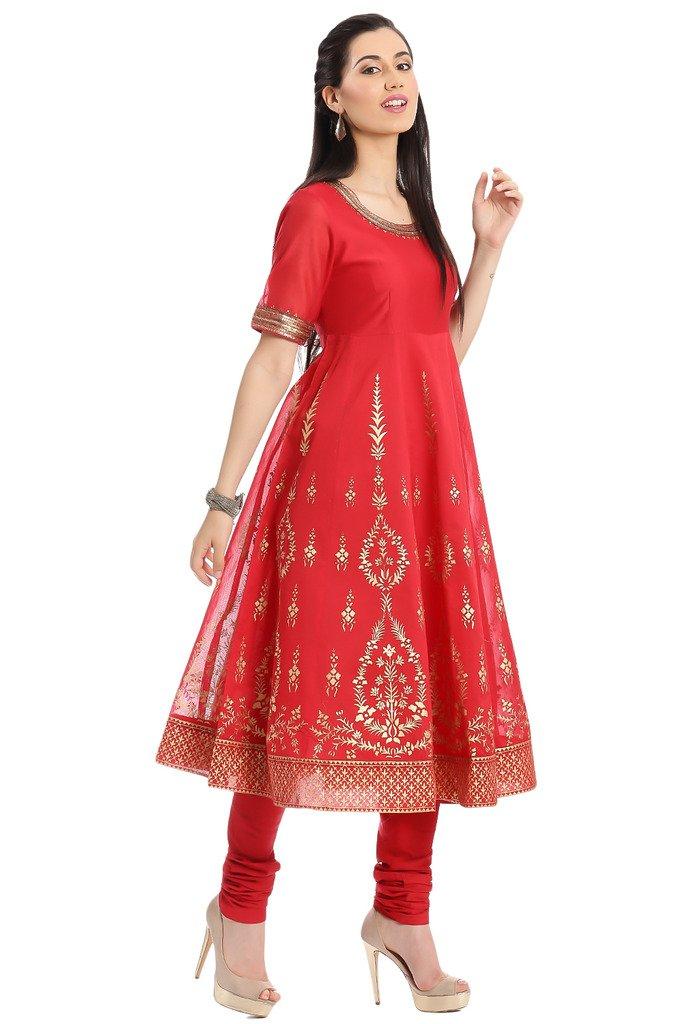 BIBA Women's Anarkali Cotton Silk Suit Set 34 Red by Biba (Image #2)