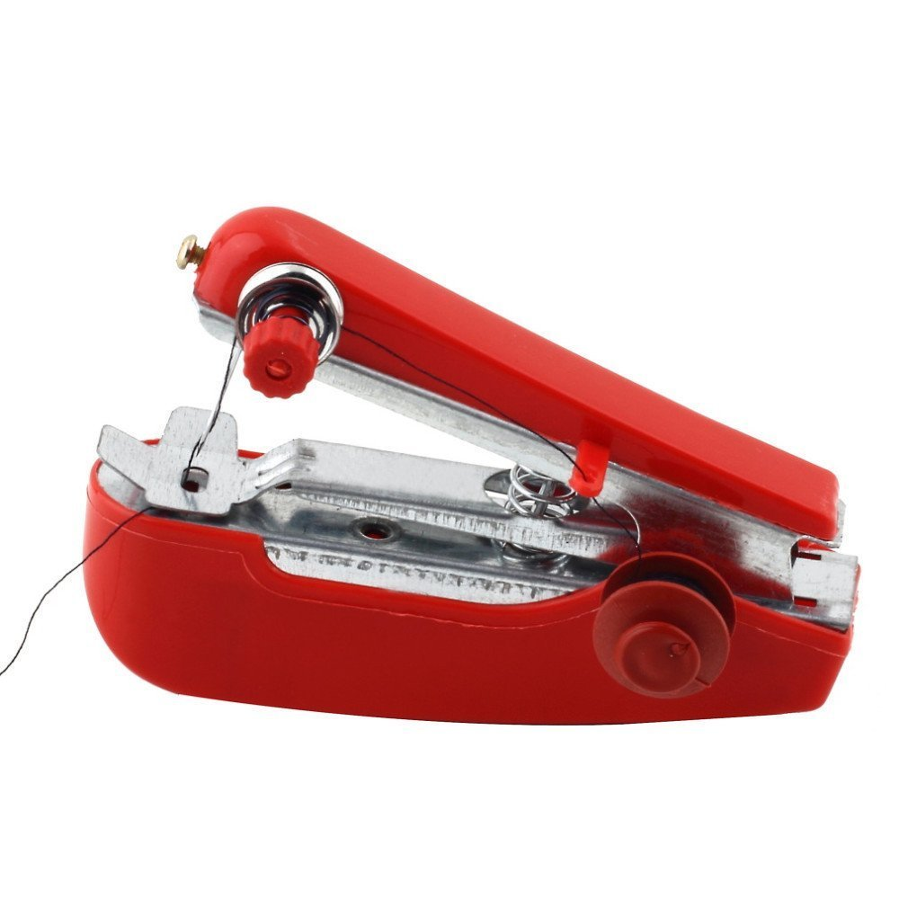 GOLDEN SPIKE® High Quality Mini Portable Hand-held Manual Sewing Machine for Needlework Mend Clothes Household (Red) FBA_H018