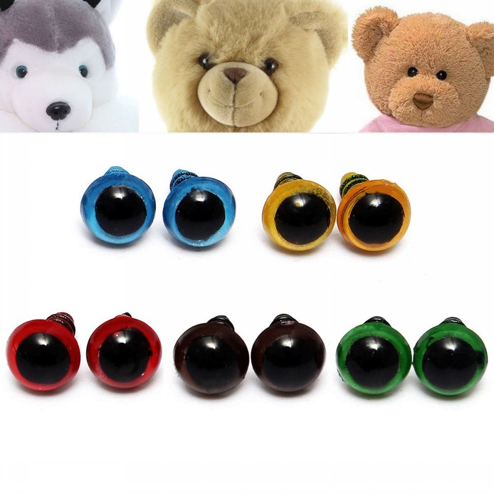 kungfu Mall 100pcs 8mm 5 Colors Plastic Eyes Safety Washers Teddy Bear Eye Doll Puppets Toys Handmade Craft DIY Tool