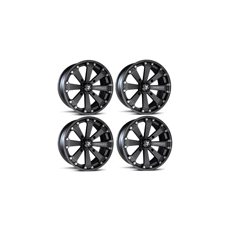 MSA M20 Kore ATV Wheels/Rims Black 16 Polaris Sportsman RZR Ranger (4)