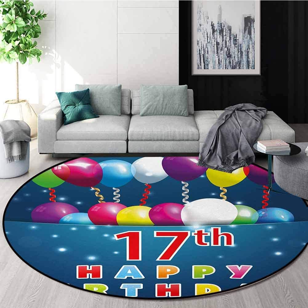 17Th Birthday Warm Soft Cotton Luxury Plush Baby Rugs,Birthday Seventeen With Colorful Balloons On Blue Colored Backdrop Image Kids Teepee Tent Game Play House Round Diameter-63 Inch,Multicolor 61KdiwAyZcL