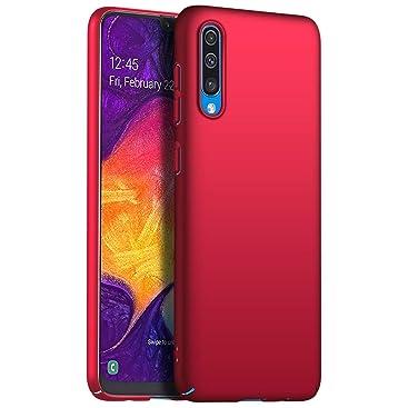 Richgle Coque Samsung Galaxy A50 / A50s, Rouge Très Mince Protection Coque Étui Housse Rigide