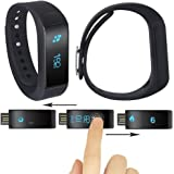 Waterproof Health Smart Bracelet WirelessBluetooth 4.0 Pedometer Wristband Smartband Fitness Monitor Activity Tracker Watch Sleep Monitor Watch Compatible with Android 4.3 IOS 7.0 Smartphones( Black)