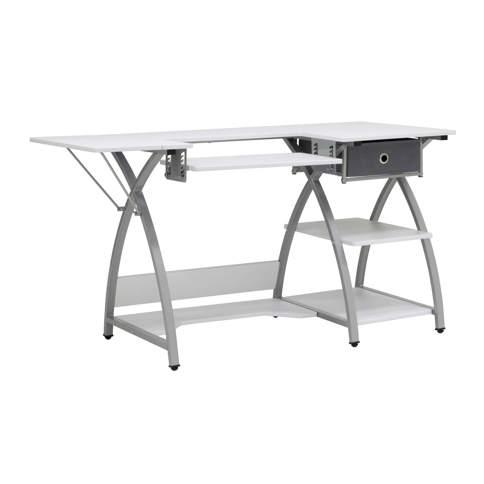 Sew Ready STDN-38018 Venus Sewing Center, 56.75'' W x 23.5'' D x 30'' H, Silver/White by Sew Ready