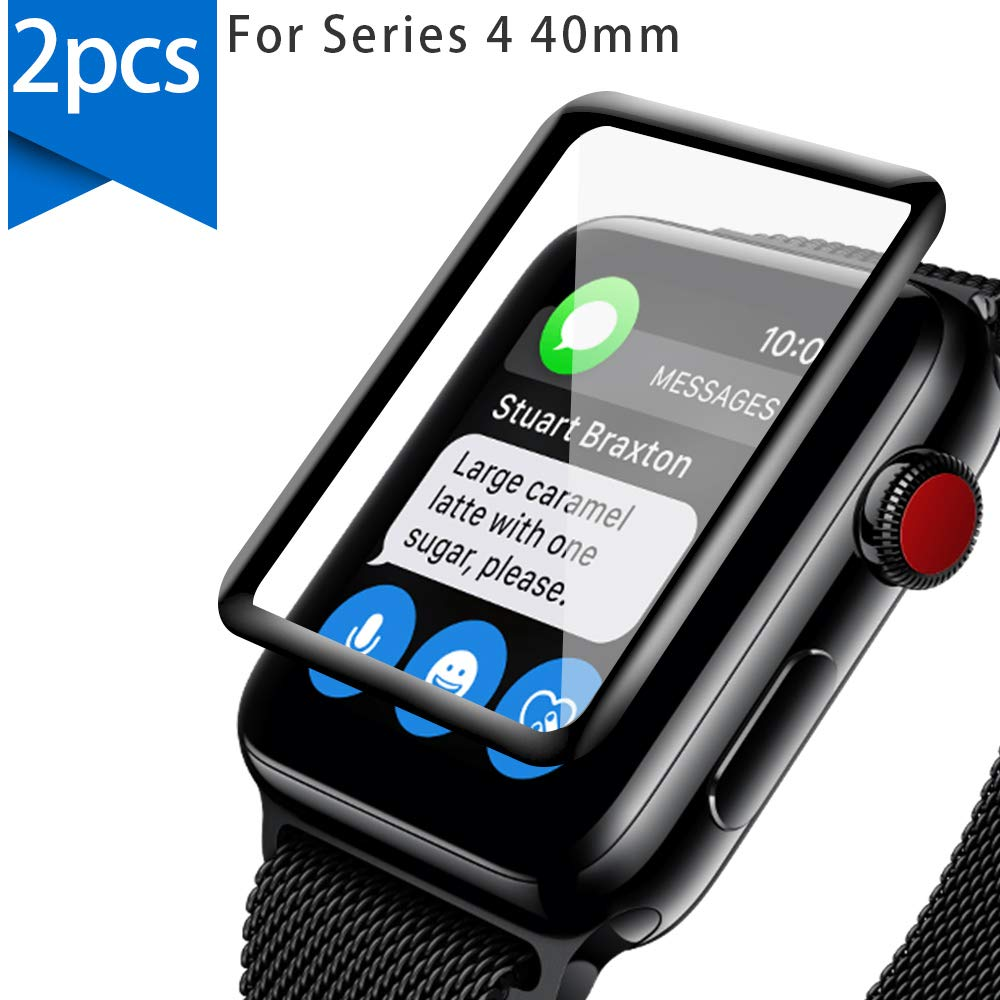 Design for Apple Watch Series 4 Screen Protector 40mm[2 Pack],GONJOY [Upgraded] 3D Full Coverage Shock Resistant Ultra Slim Bubble Tempered Glass for 40mm iWatch Series 4 by GONJOY