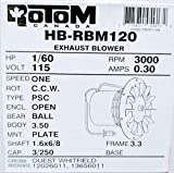 Rotom HB-RBM120 Pellet Stove Blower Motor Replacement 1/60 hp, 3000 rpm, 0.3 Amp., 115V