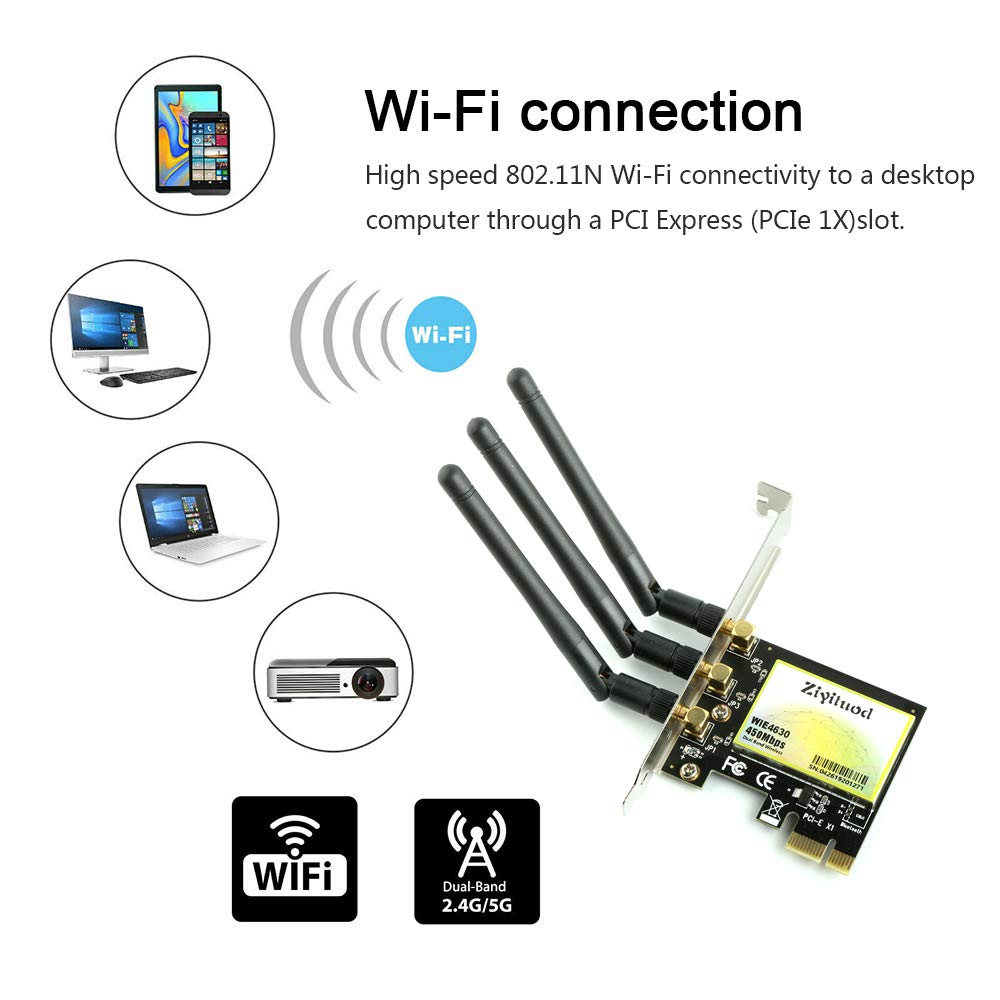 Ziyituod Wireless 450Mbps Adapter, PCI Express (PCIe) WiFi Network Card Dual Band (2.4GHz 150Mbps or 5GHz 300Mbps) PCI-e Card for Desktop/PC Gaming