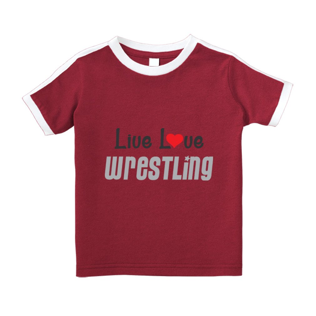 Live Love Wrestling Sport Cotton Short Sleeve Crewneck Unisex Toddler T-Shirt Soccer Tee - Red, 4T by Cute Rascals