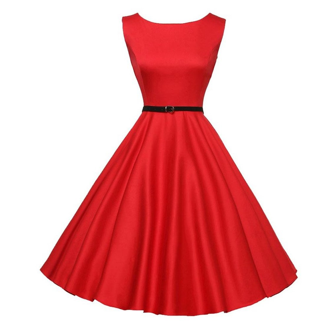 Mose New!!❃❤️❃! Dresses Women Vintage Bodycon Sleeveless Casual Retro Evening Party Tops Prom Swing Vintage Hepburn Style Waist Fashion Dress (S, Red)