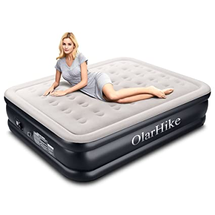 "OlarHike Queen Air Mattress with Built-in Pump for Guests, Inflatable Double High Elevated Airbed with Comfortable Top, Raised 18"" Real Air Mattresses as Camping Bed, Inflated Size - 80×60×18 INCH"