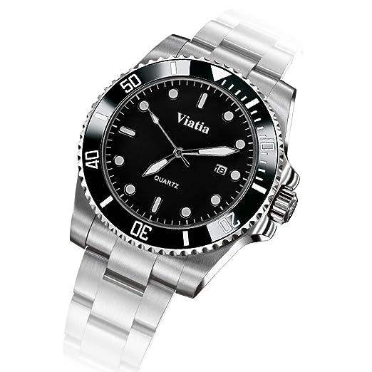 Relojes para Hombre, Clásicos Acero Inoxidable Relojes Negocios Casual Lujo Hombres Relojes Calendario Analógicos Reloj De Pulsera para Hombres: Amazon.es: ...