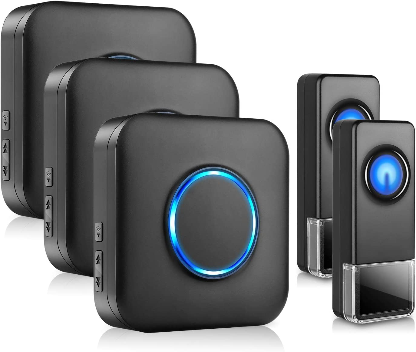 Wireless Door Bell BITIWEND Waterpoof Doorbell Chime Operating at 1000ft with 58 Tunes 5 Volume Levels LED Flash, Classroom Doorbell,Home Business Doorbell Chime, 2 Push Buttons & 3 Receivers