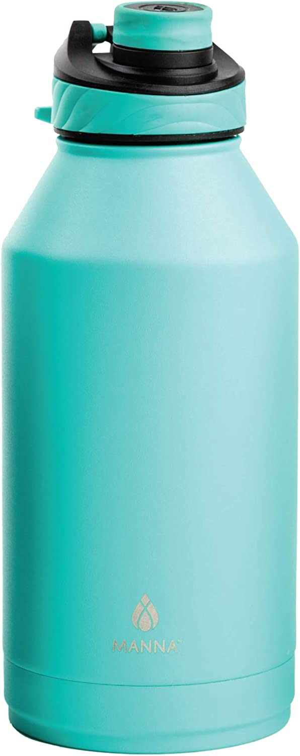 Manna Convoy 64oz Half Gallon Water Bottle Double Wall Vacuum Insulated Stainless Steel Tumbler With Lid, Simple Mouth Spout, Cold And Hot, Reusable Metal Jug Flask Gym And Travel (Sea Mist, 64 oz)