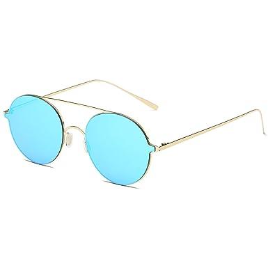 SojoS Schick Retro Metallbrücken Runde Verspiegelt Sonnenbrille Damen Herren SJ1068 mit Gold Rahmen/Blau Linse hWtod