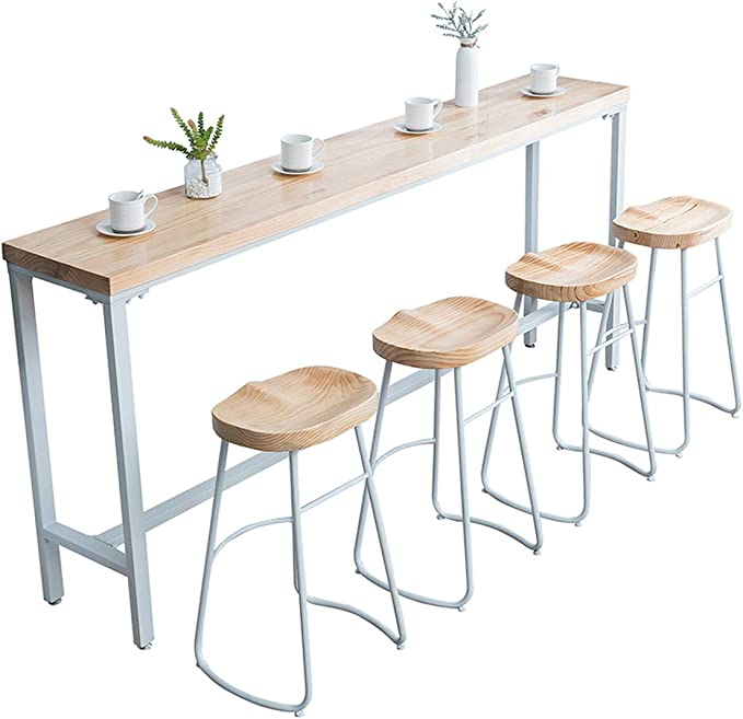 Lxn Solid Wood Bar Table Pub Dining Table With White Metal Legs Modern Simplicity High Table Suitable For Home Hotel Dining Room Kitchen Bar Excluding Bar Chair Amazon Co Uk Kitchen Home