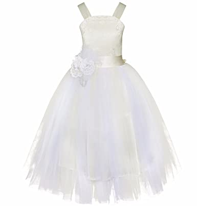 TiaoBug Flower Girl Dresses Kids Crossed Back Wedding Pageant Party Prom Dress Beige 2 Years