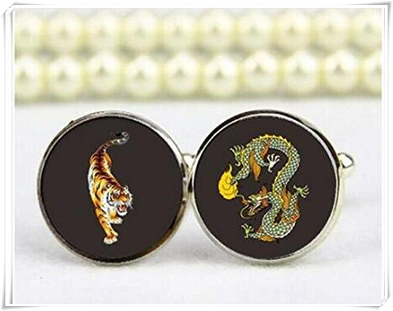 Dragon and tiger cufflinks, custom any wording or photo cuff links CX28