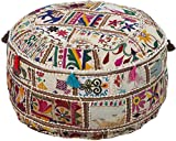 Surya POUF-92 Hand Made 100% Cotton Deep Sea Green 22'' x 22'' x 12'' Pouf
