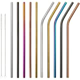 Reusable Stainless Steel Straws,Set of 10 Extra Long 10.5'' Metal Drinking Straws With 2 Brushes and Carry bag,FDA-Approved Environment-Friendly Straws For 20/30oz Tumblers Cold Beverage(Multicolor)