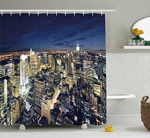 Urban Shower Curtain by Ambesonne, Modern Cityscape After Sunset Manhattan New York USA Architectural View, Fabric Bathroom Decor Set with Hooks, 84 Inches Extra Long, Yellow Tan Dark Blue (Architectural Usa)