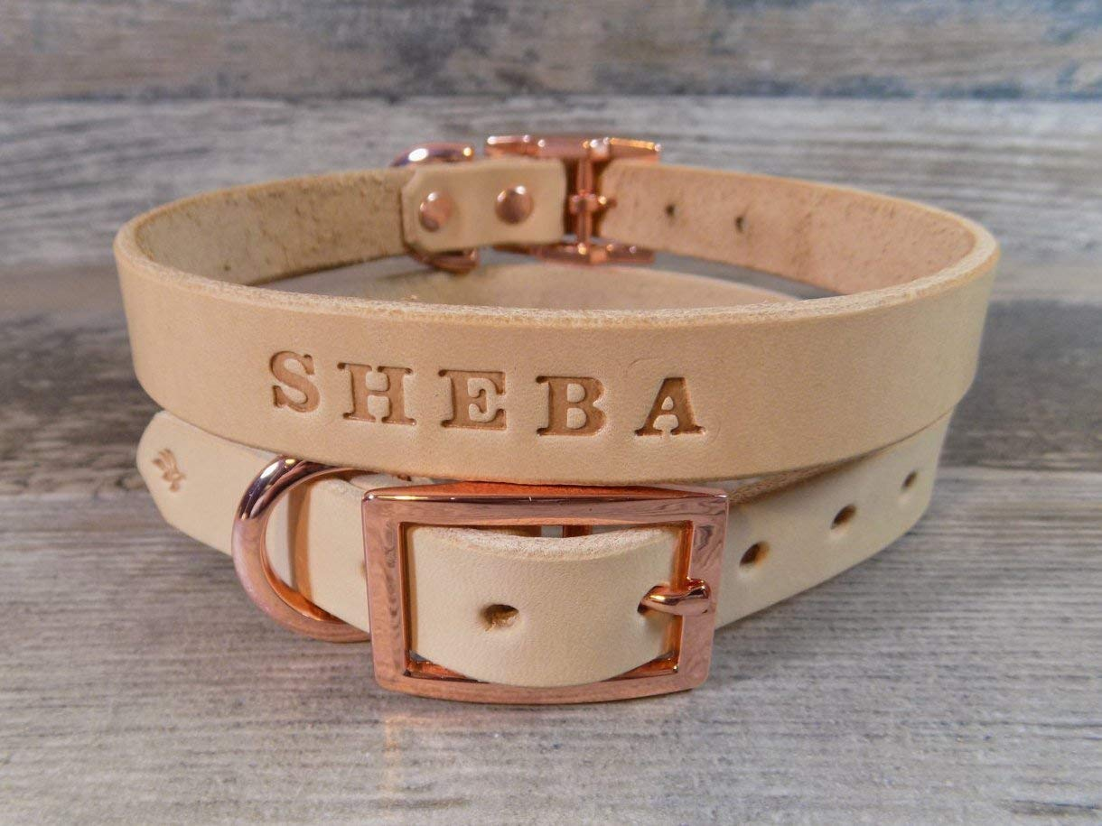 Personalized Rose Gold Copper Off White Leather Dog Collar with FREE Name, Pick Your Font
