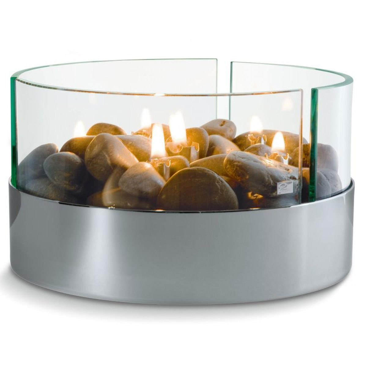 Philippi 123072 Burn Tischkamin rund Aluminium und Glas Maße: 20 x 20 x 13 cm