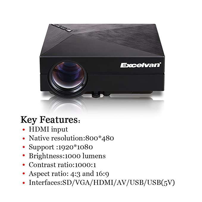 Excelvan GM60 - LED Portatil Mini Proyector 1080P (1000 Lumenes ...