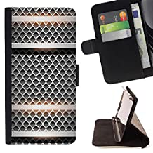 Planetar Colorful Pattern Flip Wallet Leather Holster Protective Skin Case Cover For APPLE iPhone SE / iPhone5 / 5S ( Silver Microphone Retro Steel Imitation )
