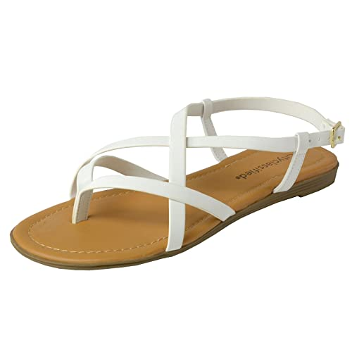 City Classified Womens Criss Cross Strappy Thong Slingback Gladiator Flat Sandals