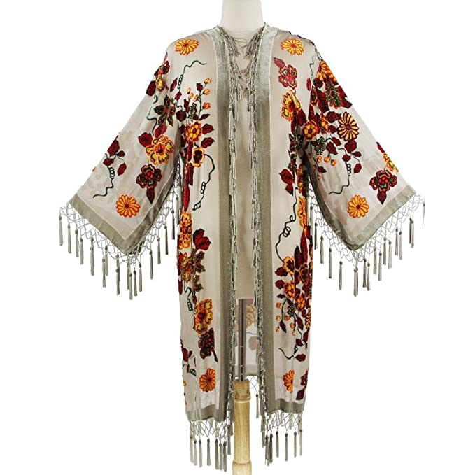 70s Jackets, Furs, Vests, Ponchos Aris A. Women's Mystic Garden Velvet Burnout Kimono with Tassels $159.99 AT vintagedancer.com