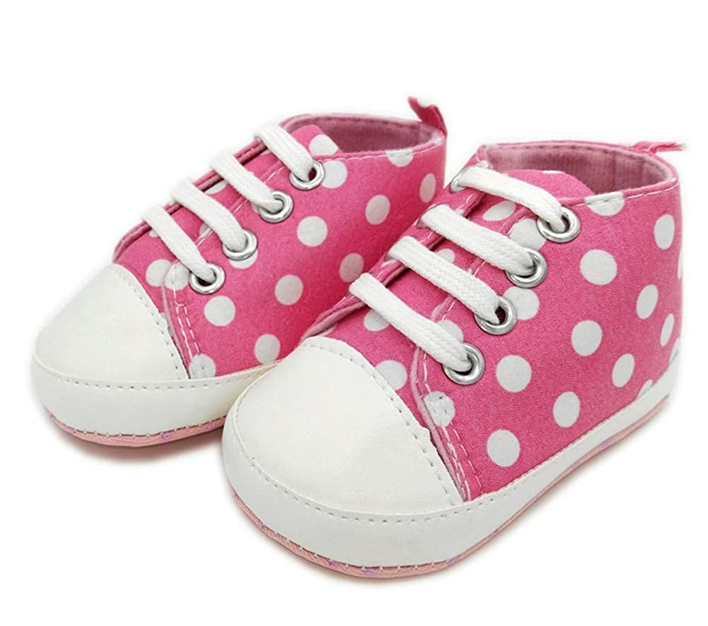 Buy-Box Unisex Baby Cotton Toddler Shoes Polka Dot Sided Durable Flat Sneakers