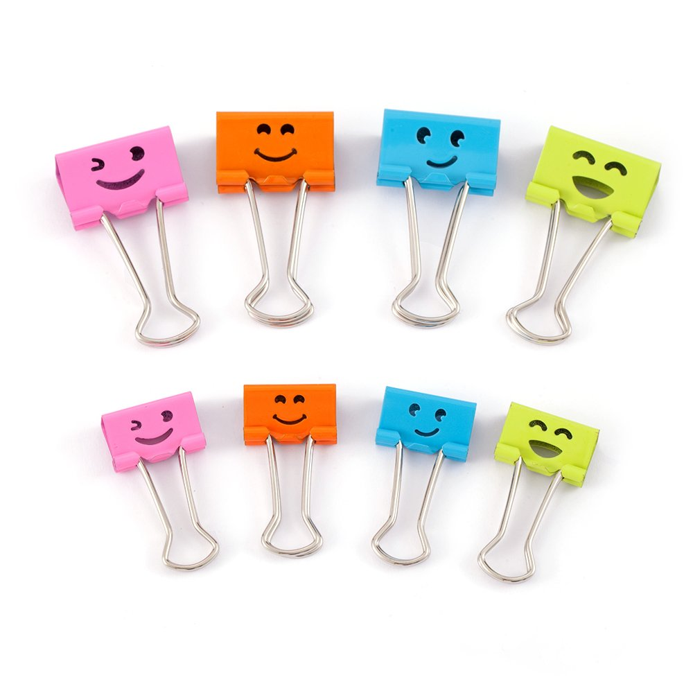Comix Binder Clips, Smile Pattern,Paper Clips for Office