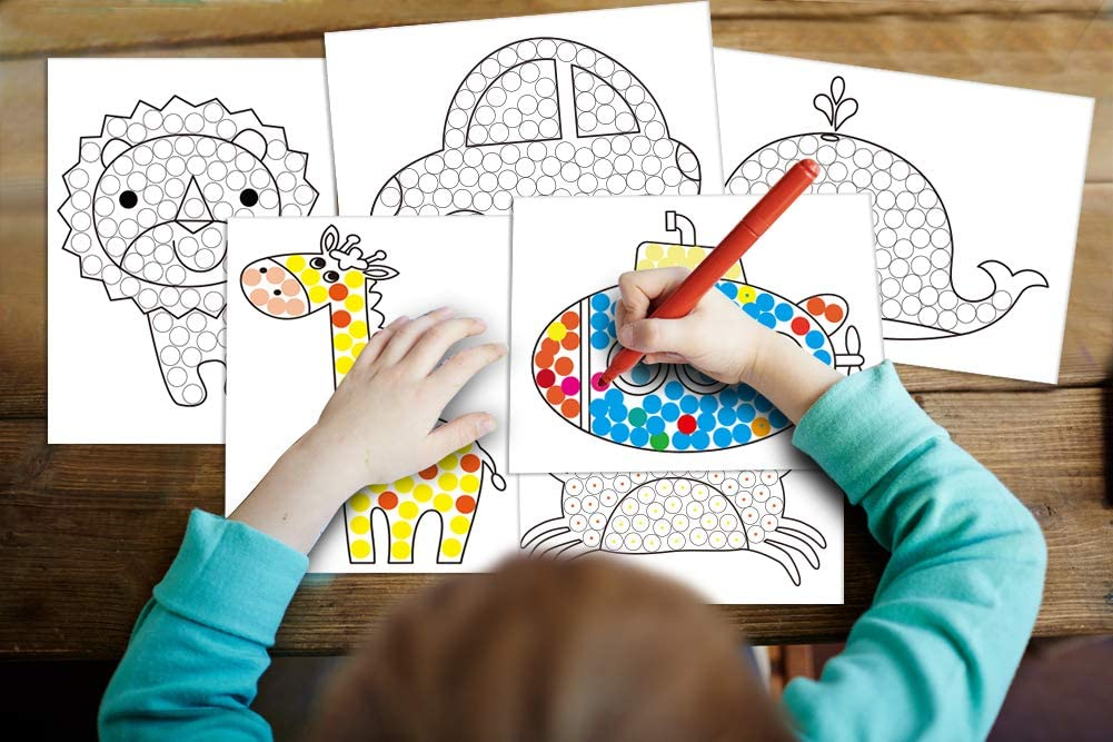 WaaHome Dot Art Coloring Books for Kids Toddler 32 Different Patterns Creative Activity Book Coloring Books