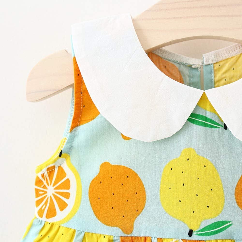 XINXINHAIHE Infant Girl Summer Print Doll Collar Dress+Bowknot Hat Kid Sundress 2pcs