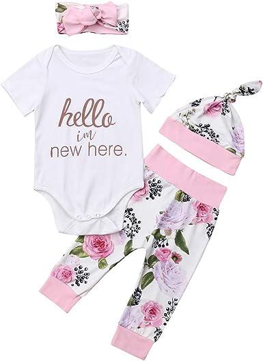 4Pcs Newborn Baby Girls Cotton Tops Romper Floral Tutu Pants Outfits Set 12-18 M