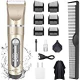 KERUITA Electric Hair Clippers for Men Quiet LED Display Cordless Rechargeable Hair Trimmers Set, IPX7 Waterproof…