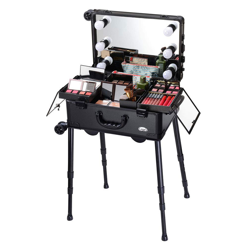 AW Rolling Makeup Case 12x8x20'' with LED Light Mirror Adjustable Legs Lockable Train Table Studio Artist Cosmetic by AW (Image #6)