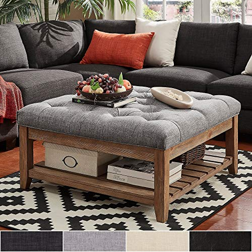 Inspire Q Lennon Pine Planked Storage Ottoman Coffee Table by Artisan Brown [Dark Brown PU]- Button Tufts