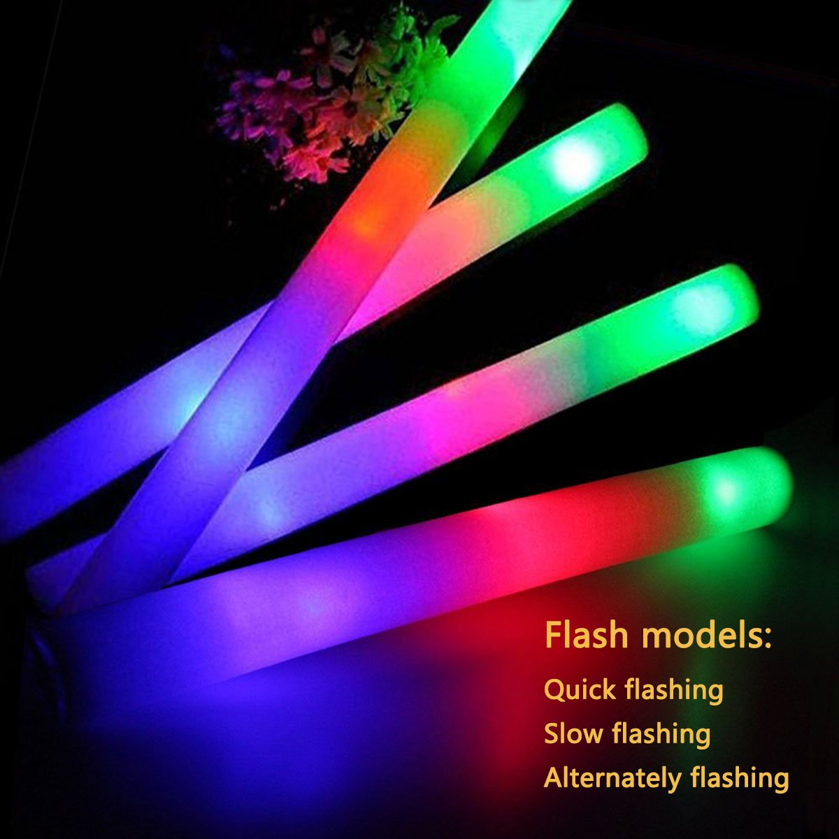 ColorHome Glow Sticks Party Pack- 100 Light Up Foam Sticks with 3 Modes LED Flashing,Glow in The Dark Party Supplies for Birthday Parties,Weddings,Concerts,Christmas,Halloween,Hawaiian Luau by ColorHome (Image #3)