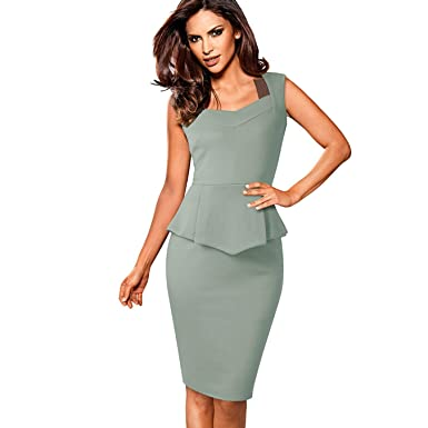 NJSBPG Vintage Greyish-Green Wear to Work Ruffle Zipper Vestidos Women Dress