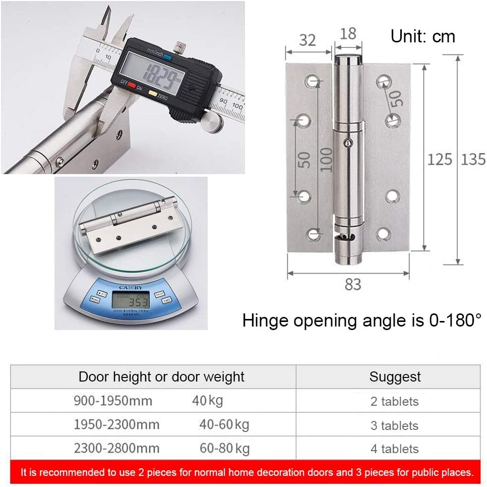 NQFL Door Hinge Stainless Steel Spring Hydraulic Buffer Automatic Closing Door Closer Damping Three-in-one Hinge Silver-4 Tablets