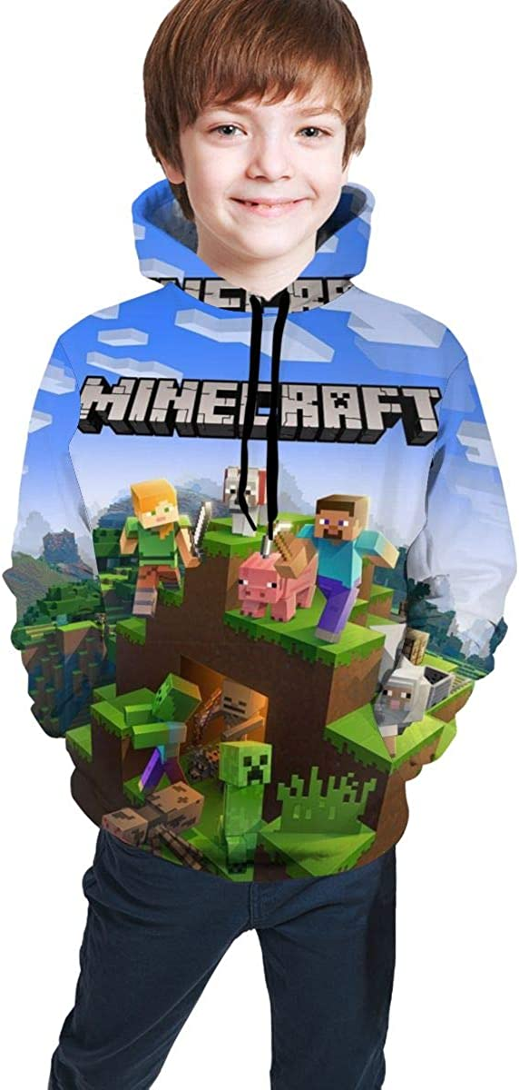Minecraft Hoodie for Kids 3D Print Pullover Sweatshirts Hooded Hoodies with Pockets