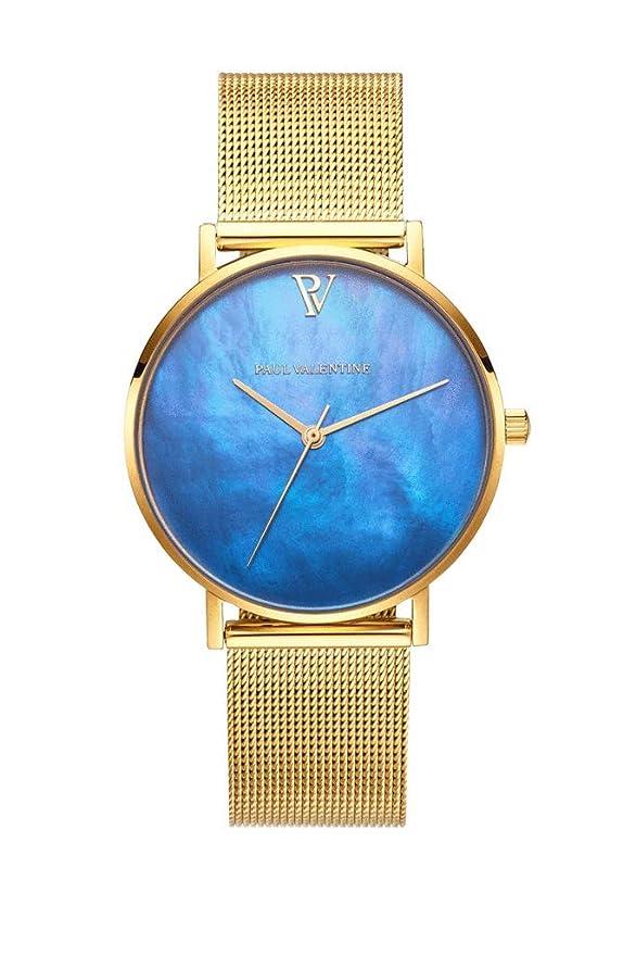 Paul Valentine Blue Seashell - Reloj de Pulsera para Mujer (36 mm): Amazon.es: Relojes