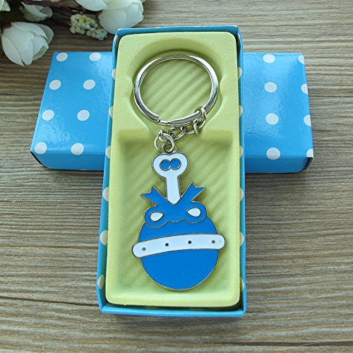 (Baby Boy Shower Rattle Keychain Favor Blue 12PCS/ Birthday Party Gift for Guest/Sonaja Llavero Table Decoration)