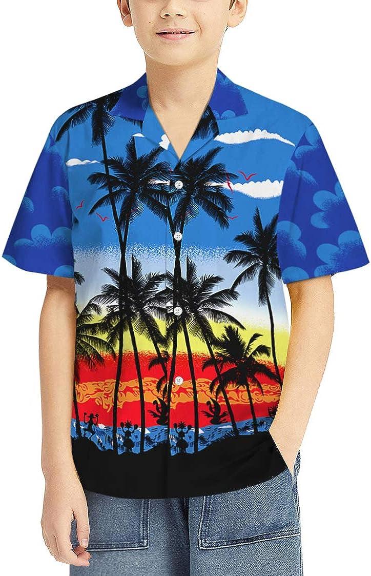 Pizoff - Camisa hawaiana para niños, diseño de árbol de coco ...