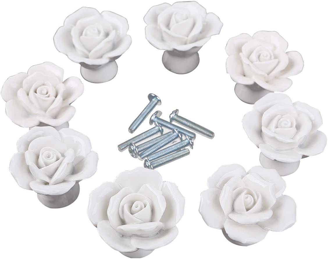 Rose Ceramic Door Knob Follow Pattern Lovely Handle Pull Knobs Door Cupboard Locker for Kid's Room Drawer,Cabinet,Chest, Bin, Dresser, Cupboard, Etc with Screws, 5 Pieces, White