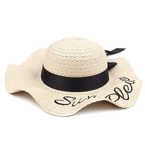 dal costo ragionevole gamma completa di specifiche scegli ufficiale ZXCVBM Moda Donna Lettera Ricamo Cappello di Paglia Tesa ...